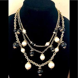 Jewelry - 5/$25 Signed Designer Black & White Necklace